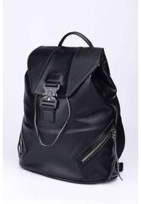 DAVID JONES - Plecak damski czarny David Jones 808803 BLACK. Kolor: czarny. Materiał: skóra ekologiczna