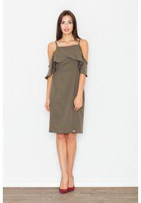 Oliwkowa sukienka z falbanami Figl elegancka, midi