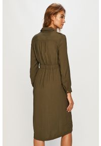 Zielona sukienka only midi, z długim rękawem, casualowa
