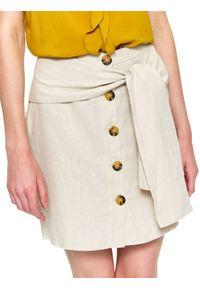 Beżowa spódnica TOP SECRET na zimę, krótka, w kolorowe wzory, casualowa