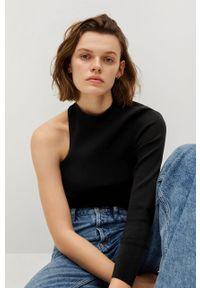 Czarny sweter mango długi, z długim rękawem
