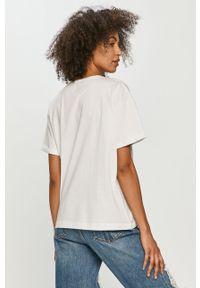 Biała bluzka z nadrukiem, casualowa, na co dzień