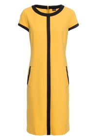 Złota sukienka bonprix z krótkim rękawem