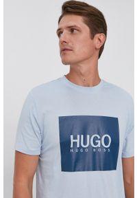 Hugo - T-shirt bawełniany. Okazja: na co dzień. Kolor: niebieski. Materiał: bawełna. Wzór: nadruk. Styl: casual