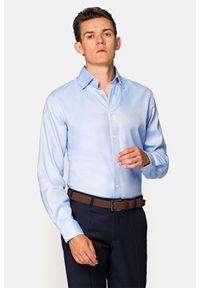 Lancerto - Koszula Błękitna w Białe Kropki Kristen. Kolor: niebieski. Materiał: bawełna, tkanina, jeans. Wzór: kropki