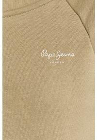 Zielona bluza rozpinana Pepe Jeans gładkie, z kapturem, casualowa, na co dzień