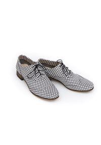 Szare półbuty Zapato z cholewką, do pracy, w kolorowe wzory, eleganckie