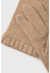 only - Only - Rękawiczki z domieszką wełny. Kolor: beżowy. Materiał: wełna