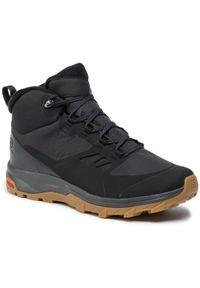 Czarne buty trekkingowe salomon trekkingowe, z cholewką