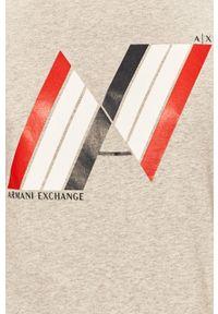 Szary t-shirt Armani Exchange z nadrukiem, casualowy