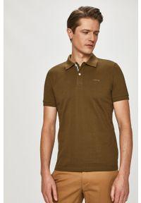 Brązowa koszulka polo Geox krótka, casualowa, gładkie