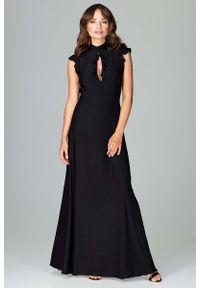 Czarna sukienka na wesele Katrus z falbankami, maxi