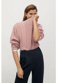 Różowy sweter mango z długim rękawem, długi