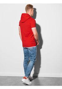 Czerwony t-shirt Ombre Clothing z kapturem