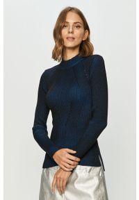 Niebieski sweter G-Star RAW z długim rękawem, długi, melanż