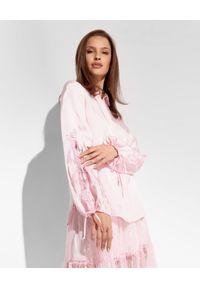 Ermanno Firenze - ERMANNO FIRENZE - Różowa koszula z bufiastymi rękawami. Okazja: do pracy, na spotkanie biznesowe. Kolor: różowy, wielokolorowy, fioletowy. Materiał: tkanina, wiskoza, satyna, koronka. Długość: długie. Styl: klasyczny, elegancki, biznesowy