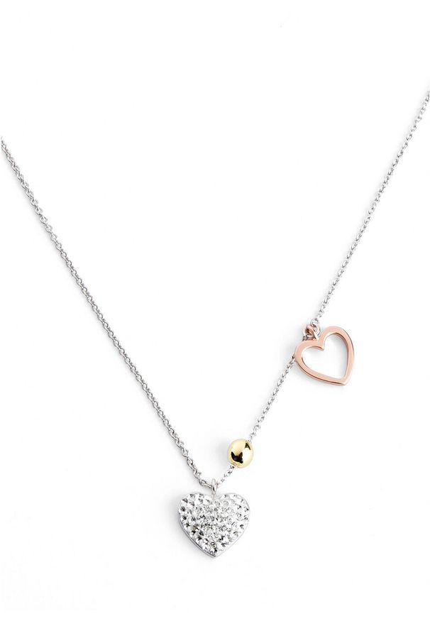 Łańcuszek z kryształami Swarovskiego® bonprix serce srebrny kolor rodowany - pozłacany czerwonym złotem -pozłacany