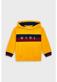 Pomarańczowa bluza Mayoral z kapturem, casualowa, z nadrukiem