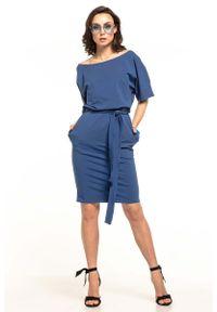 Niebieska sukienka Tessita z krótkim rękawem