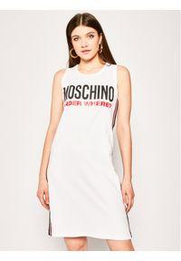 Biała sukienka Moschino Underwear & Swim casualowa, prosta, na co dzień