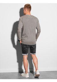 Ombre Clothing - Longsleeve męski bez nadruku L131 - jasnobrązowy - XXL. Kolor: brązowy. Materiał: bawełna. Długość rękawa: długi rękaw #3