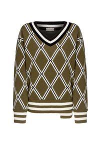Sweter MRZ w prążki, z asymetrycznym kołnierzem, klasyczny