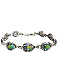 Polcarat Design - Srebrna oksydowana bransoletka z kryształami Swarovski L 2030. Materiał: srebrne. Kolor: srebrny. Wzór: aplikacja. Kamień szlachetny: kryształ