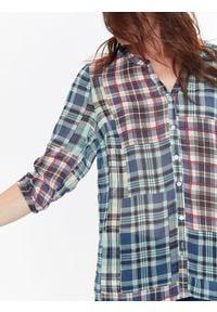 TOP SECRET - Koszula damska z szyfonowej tkaniny w kratę. Materiał: szyfon, tkanina. Długość rękawa: krótki rękaw. Długość: długie. Sezon: jesień, zima