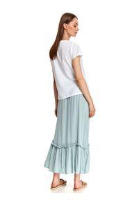TOP SECRET - Damski t-shirt z pastelowym nadrukiem. Kolor: biały. Materiał: tkanina, bawełna. Długość rękawa: krótki rękaw. Długość: krótkie. Wzór: nadruk. Sezon: lato. Styl: wakacyjny