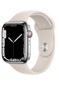 APPLE - Smartwatch Apple Watch 7 GPS+Cellular 45mm stal, srebrny | księżycowa poświata pasek sportowy. Rodzaj zegarka: smartwatch. Kolor: srebrny. Styl: sportowy