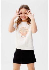 Biała bluzka z krótkim rękawem Mango Kids casualowa, z nadrukiem
