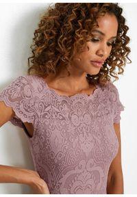 Różowy kombinezon bonprix elegancki, w koronkowe wzory