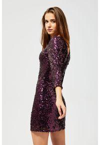 MOODO - Sukienka cekinowa. Materiał: poliamid, nylon, elastan. Wzór: gładki. Styl: glamour