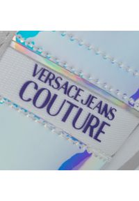 Szare półbuty casual Versace Jeans Couture z cholewką, na koturnie, na średnim obcasie