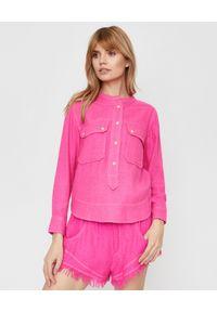 ISABEL MARANT - Różowa bluzka Tecoyo. Kolor: różowy, wielokolorowy, fioletowy. Materiał: jeans, materiał. Długość rękawa: długi rękaw. Długość: długie. Styl: elegancki