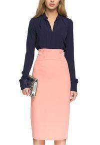 Style - Elegancka spódnica midi z guzikami w pasie. Okazja: do pracy. Styl: elegancki