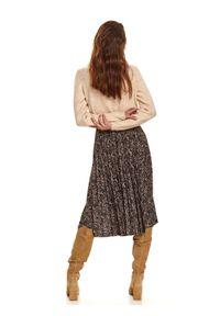 Brązowa spódnica TOP SECRET na jesień, w kolorowe wzory