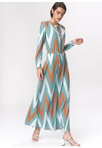 e-margeritka - Sukienka maxi boho - 34. Materiał: materiał, poliester. Wzór: kolorowy. Typ sukienki: koszulowe, rozkloszowane. Styl: boho. Długość: maxi