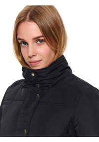 Czarna kurtka TOP SECRET długa, na zimę, ze stójką, elegancka