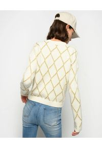 Pinko - PINKO - Sweter w romby Mezzofondo. Kolor: biały. Materiał: tkanina, len, wełna, jeans. Styl: vintage