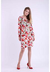 Nommo - Kwiatowa Wizytowa Sukienka z Falbanką przy Dekolcie V. Materiał: wiskoza, poliester. Wzór: kwiaty. Styl: wizytowy