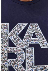 Karl Lagerfeld - T-shirt. Okazja: na co dzień. Kolor: niebieski. Materiał: dzianina. Wzór: nadruk. Styl: casual
