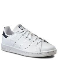 Białe buty sportowe Adidas z cholewką, tenisowe, z paskami