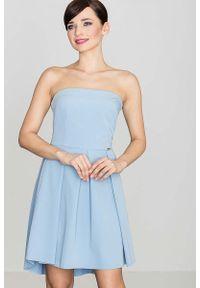Niebieska sukienka wieczorowa Katrus gorsetowa, z gorsetem