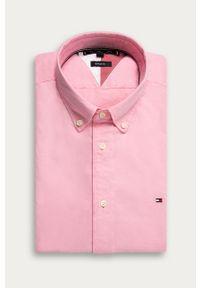 Różowa koszula TOMMY HILFIGER button down, casualowa, na co dzień, długa