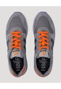 Hogan - HOGAN - Szare sneakersy H383. Nosek buta: okrągły. Zapięcie: sznurówki. Kolor: szary. Materiał: guma, materiał #6