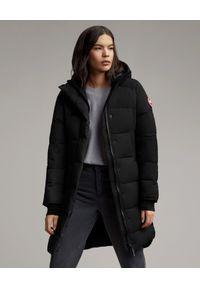 Czarny płaszcz CANADA GOOSE klasyczny, z aplikacjami, na zimę