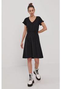Vila - Sukienka. Kolor: czarny. Materiał: bawełna, dzianina. Długość rękawa: krótki rękaw. Wzór: gładki. Typ sukienki: rozkloszowane