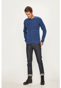 Niebieski sweter Blend melanż, z okrągłym kołnierzem, casualowy