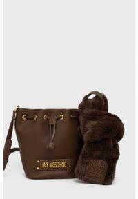 Love Moschino - Torebka. Kolor: brązowy. Rodzaj torebki: na ramię